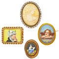 Estate Jewelry:Brooches - Pins, Shell Cameo, Painted Porcelain, Gold, Silver Brooches. ... (Total: 4 Items)