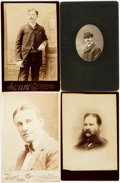 Photography:Cabinet Photos, [Photography]. Group of Four Cabinet Cards of Men. Ca. 1880s.Measure 6.5 inches x 4.25 inches. Very good condition. . ...