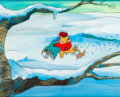 Animation Art:Production Cel, Winnie the Pooh Discovers the Seasons Winnie the Pooh,Eeyore and Roo Production Cel and Master Background Setup (Walt...