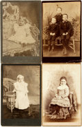 Photography:Cabinet Photos, [Photography]. Group of Four Cabinet Cards of Children. Ca. 1880s.Measure 6.5 inches x 4.25 inches. Very good condition. ...