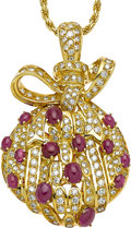 Estate Jewelry:Necklaces, Ruby, Diamond, Gold Pendant-Necklace. ...
