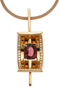 Estate Jewelry:Necklaces, Pink Tourmaline, Diamond, Pink Gold Pendant-Necklace. ...
