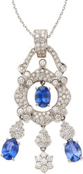 Estate Jewelry:Pendants and Lockets, Diamond, Sapphire, White Gold Pendant-Necklace. ...