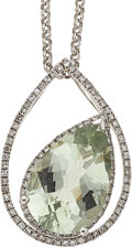 Estate Jewelry:Necklaces, Green Beryl, Diamond, White Gold Pendant-Necklace. ...