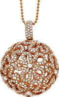 Estate Jewelry:Necklaces, Diamond, Pink Gold Pendant-Necklace. ...