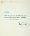 Autographs:Celebrities, Carol Burnett Typed Letter Signed. One page letter on SheratonCadillac Hotel letterhead, Detroit Michigan. Undated. ...