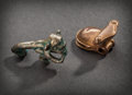 Pre-Columbian:Metal/Gold, A CHIMU SILVER MONKEY EATING MAIZE AND A GOLD FROG RATTLE...(Total: 2 Items)