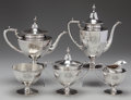 Silver Holloware, American:Tea Sets, A FIVE PIECE BAILEY, BANKS & BIDDLE SILVER TEA AND COFFEESERVICE, Philadelphia, Pennsylvania, circa 1950. Marks: BAILEY,... (Total: 5 Items)