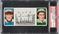Baseball Cards:Singles (Pre-1930), 1912 T202 Hassan The Athletic Infield Hauser/Konetchy PSA NM-MT 8 - Highest Graded Example! ...