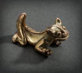 Pre-Columbian:Metal/Gold, A GOLD JAGUAR WITH THICK ARCHED TAIL...