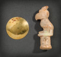 Pre-Columbian:Metal/Gold, A CHIMU GOLD OBJECT AND A VENADO BIRD AMULET ... (Total: 2 Items)