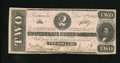 Confederate Notes:1862 Issues, T54 $2 1862. This attractive deuce has a fold and one light bendwhich account for the grade. The signatures and serial numb...