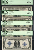 Large Size:Silver Certificates, Fr. 237 $1 1923 Silver Certificates Cut Sheet of Four PCGS Gem New66PPQ (3) & Gem New 65PPQ.... (Total: 4 notes)