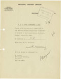 """Hockey Collectibles:Others, 1929 Howie Morenz Signed NHL Document. Often called """"The Babe Ruthof Hockey"""" for his status as the sport's greatest talent..."""