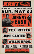 Music Memorabilia:Posters, Johnny Cash Show KRNT Theater Concert Poster (c. 1966). The Man inBlack stars in this early roadshow-style poster, which a... (Total:1 Item)