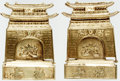 """Books:Furniture & Accessories, [Bookends]. Matching Pair of Folding Solid Brass Pagoda Bookends.Ca. 1960s. Each measures 5"""" tall x 3.25"""" wide x 4.25"""" deep...(Total: 2 Items)"""