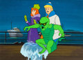 Animation Art:Production Cel, The Scooby-Doo Show/Scooby-Doo/Dyno Mutt Hour Freddy andDaphne Production Cel Setup with Background (Hanna-Barbera, 1...