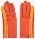 Luxury Accessories:Accessories, Hermes Capucine & Orange H Agneau Leather Gloves. Very Good Condition. Size 7 . ...
