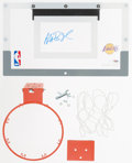Basketball Collectibles:Others, Magic Johnson Signed Mini Backboard and Hoop....