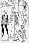 "Original Comic Art:Splash Pages, Millie the Model #180 ""Groovy Fashions for Millie"" Pin-UpOriginal Art (Marvel, 1969).... (Total: 2 )"