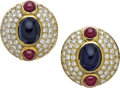 Estate Jewelry:Earrings, Sapphire, Ruby, Diamond, Gold Earrings, Hammerman Brothers. ...