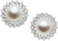 Estate Jewelry:Earrings, South Sea Cultured Pearl, Diamond, Platinum, White Gold Earrings....