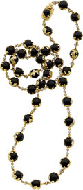 Estate Jewelry:Necklaces, Black Onyx, Diamond, Gold Necklace, Charles de Temple. ...