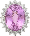 Estate Jewelry:Rings, Kunzite, Diamond, White Gold Ring. ...