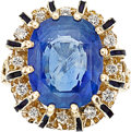 Estate Jewelry:Rings, Sapphire, Diamond, Enamel, Gold Ring. ...
