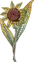 Estate Jewelry:Brooches - Pins, Ruby, Diamond, Plique-à-Jour Enamel, Silver-Topped Gold Brooch,Moira . ...