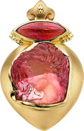 Estate Jewelry:Pendants and Lockets, Pink Tourmaline, Gold Pendant, Paula Crevoshay. ...