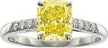 Estate Jewelry:Rings, Fancy Vivid Yellow Diamond, Diamond, Platinum Ring, WilliamGoldberg. ...