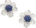 Estate Jewelry:Earrings, Diamond, Sapphire, Frosted Rock Crystal Quartz, White GoldEarrings, Aletto Bros.. ...