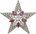 Estate Jewelry:Brooches - Pins, Art Deco Diamond, Ruby, Platinum Brooch. ...