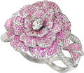 Estate Jewelry:Bracelets, Diamond, Pink Sapphire, White Gold Bracelet, Chanel, French. ...