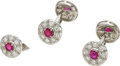 Estate Jewelry:Cufflinks, Diamond, Ruby, White Gold Cuff Links and Shirt Stud. ...