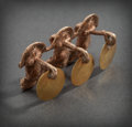Pre-Columbian:Metal/Gold, SINU GOLD ORNAMENT OF THREE CONJOINED FROGS WITH DANGLING DISKS...