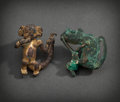 Pre-Columbian:Metal/Gold, A PANAMA AREA TUMBAGA MONKEY AND A SINU COPPER HOWLER MONKEY...(Total: 2 Items)