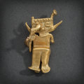 Pre-Columbian:Metal/Gold, CALIMA GOLD SHAMAN WITH BIRD IN RIGHT HAND...