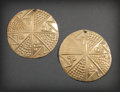 Pre-Columbian:Metal/Gold, PAIR OF NARINO GOLD ORNAMENTS WITH MONKEY IMAGES. c. 800 - 1200AD... (Total: 2 Items)