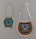American Indian Art:Beadwork and Quillwork, TWO MICMAC/MALISEET BEADED CLOTH POUCHES. c. 1870... (Total: 2Items)