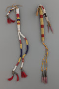 American Indian Art:Beadwork and Quillwork, TWO SIOUX BEADED HIDE AWL CASES. c. 1890...