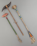 American Indian Art:Beadwork and Quillwork, THREE PLAINS BEADED CEREMONIAL CLUBS. c. 1900... (Total: 3 Items)