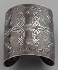 American Indian Art:Jewelry and Silverwork, A LARGE NAVAJO SILVER CUFF BRACELET. c. 1930...