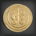 Pre-Columbian:Metal/Gold, LARGE NARINO GOLD DISC WITH TWO MONKEYS...