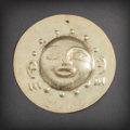 Pre-Columbian:Metal/Gold, A Large Gold Narino Disc with Human Face in High Relief...
