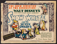 "Snow White and the Seven Dwarfs (RKO, 1937). Title Lobby Card (11"" X 14""). Animation"