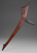 American Indian Art:Pipes, Tools, and Weapons, A FINE WESTERN GREAT LAKES GUNSTOCK CLUB. c. 1850...
