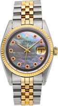 Timepieces:Wristwatch, Rolex Ref. 16000 Gent's Two Tone Datejust With Mother-Of-Pearl& Ruby Dial, circa 1980. ...