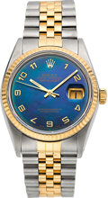 Timepieces:Wristwatch, Rolex Ref. 16000 Gent's Two Tone Datejust With Blue Mother-Of-PearlDial, circa 1978. ...